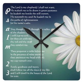 Psalm 23 - Der LORD ist mein Schäfer Quadratische Wanduhr