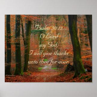 Psalm-30:12 geben Dank des Lords Poster