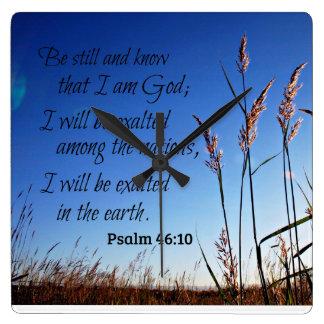 Psalm-46:10 ist noch und weiß, dass ich Gott bin Quadratische Wanduhr