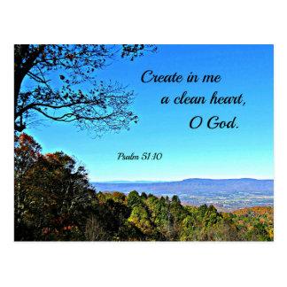 Psalm-51:10 schaffen in mir ein sauberes Herz. Postkarte
