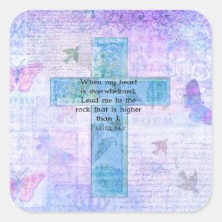 Psalm-61:2 schöner Bibelvers u. christliche Kunst Quadratischer Aufkleber