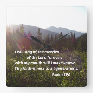 Psalm-89:1 singe ich von den Gnaden des Lords Quadratische Wanduhr
