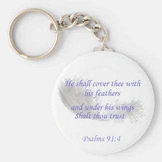 Psalm-91:4 bedeckt er thee mit seinen Federn Schlüsselanhänger