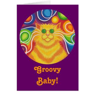 "Psy-Katze-delic rundes ""starkes Baby!"" Karte lila"