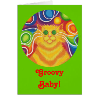 "Psy-Katze-delic rundes ""starkes Baby!"" Kartengrün Karte"