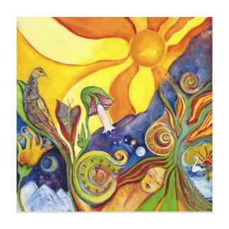 Psychedelic Art - 60s -Hippie Woman - Sun Birds Gespannter Galeriedruck