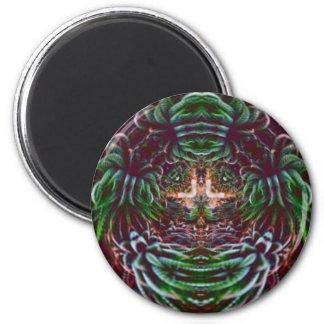 Psychedelisch in die Pflanze Runder Magnet 5,7 Cm