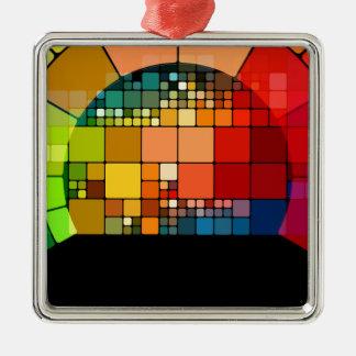Psychedelisch Quadratisches Silberfarbenes Ornament