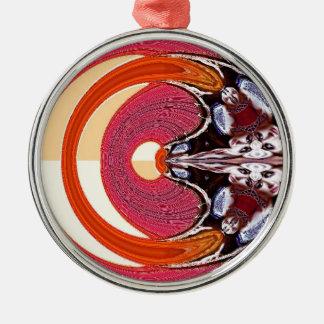 Psychedelisch Rundes Silberfarbenes Ornament