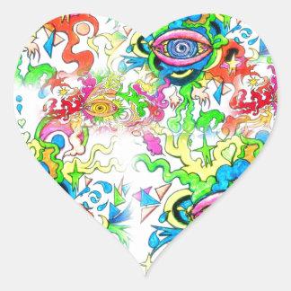 Psychedelische Augen Herz-Aufkleber