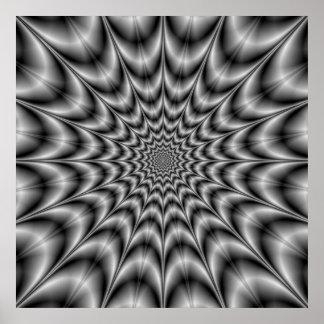 Psychedelische Explosion im Schwarzweiss-Plakat Poster