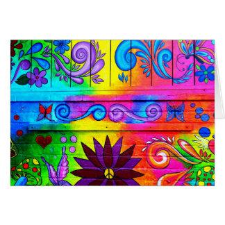 psychedelische Grußkarte Siebzigerjahre Hippie