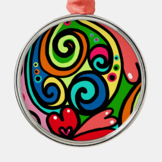 Psychedelische Herzen Silbernes Ornament