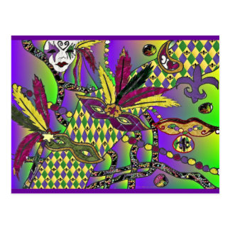 Psychedelische Karneval-Feder maskiert Postkarte