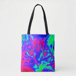 Psychedelische Katzen-Kunst Tasche