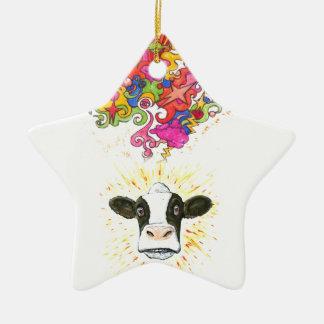 Psychedelische Kuh Keramik Ornament