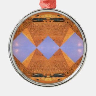 Psychedelische Pyramiden Silbernes Ornament