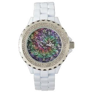 Psychedelische Regenbogen-Musiknoten-Goldzahl-Uhr Armbanduhr