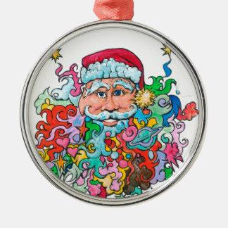 Psychedelische Sankt Rundes Silberfarbenes Ornament