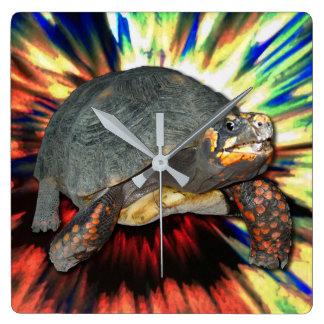 Psychedelische Schildkröte Quadratische Wanduhr