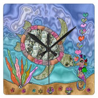 Psychedelische Seeschildkröte-Seepferd-Kunst Quadratische Wanduhr