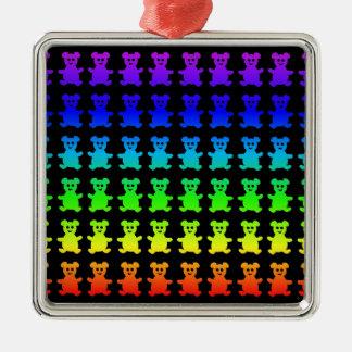 Psychedelische Teddybärbären Silbernes Ornament