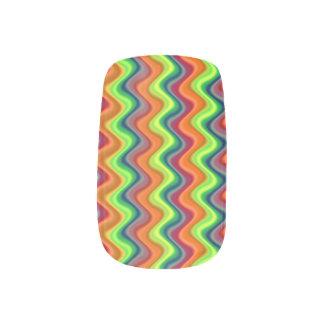 Psychedelische Wellen-Fingernagel-Abziehbilder Minx Nagelkunst