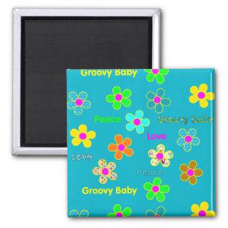 Psychedelischer 60er Groovy Blumen-Muster Quadratischer Magnet