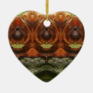 Psychedelischer Affe Keramik Herz-Ornament