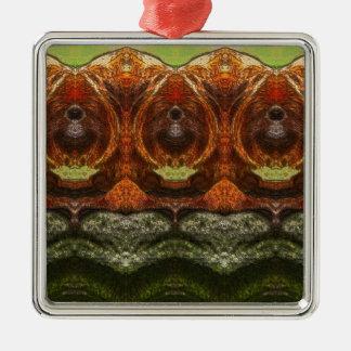 Psychedelischer Affe Quadratisches Silberfarbenes Ornament