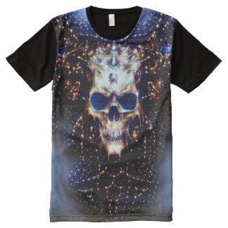 Psychedelischer Dämon-Schädel-interstellare T-Shirt Mit Komplett Bedruckbarer Vorderseite