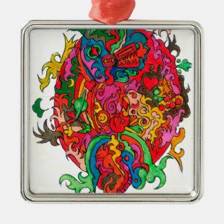 Psychedelischer Drache Quadratisches Silberfarbenes Ornament