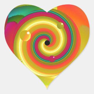 Psychedelischer Durchschlag Herz-Aufkleber