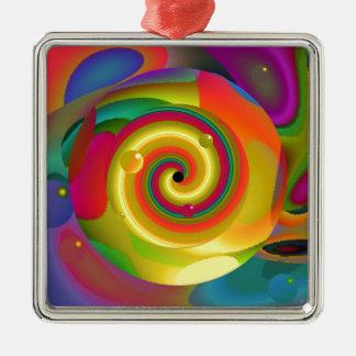 Psychedelischer Durchschlag Quadratisches Silberfarbenes Ornament