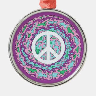 Psychedelischer Frieden Silbernes Ornament