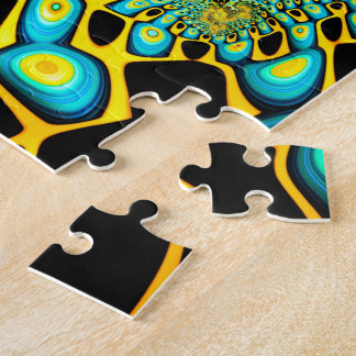 Psychedelischer Goldpfau-Trippy Fraktal Foto Puzzle