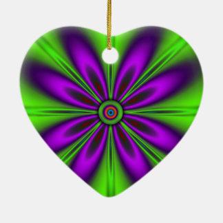 Psychedelischer grüner lila Blumenentwurf Keramik Ornament
