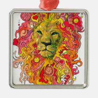Psychedelischer Löwe Quadratisches Silberfarbenes Ornament