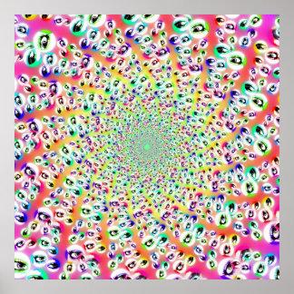 Psychedelischer Regenbogen mustert Mandala Plakat