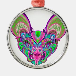Psychedelischer Regenbogenschläger Rundes Silberfarbenes Ornament