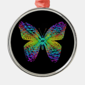Psychedelischer Schmetterling Silbernes Ornament