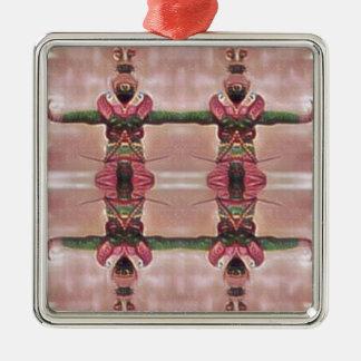 Psychedelischer Schutz Quadratisches Silberfarbenes Ornament