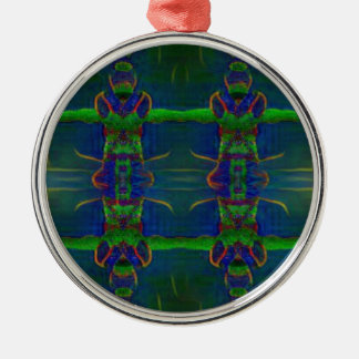 Psychedelischer Schutz Rundes Silberfarbenes Ornament