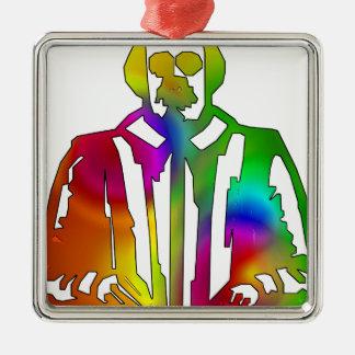 Psychedelischer Shakespeare Quadratisches Silberfarbenes Ornament