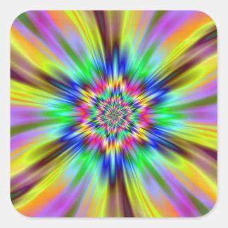 Psychedelischer Stern Quadrat-Aufkleber