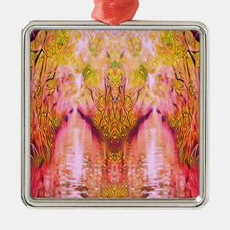 Psychedelischer Sumpf Quadratisches Silberfarbenes Ornament
