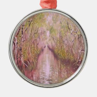 Psychedelischer Sumpf Rundes Silberfarbenes Ornament
