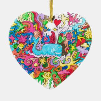 Psychedelischer Wal Keramik Ornament
