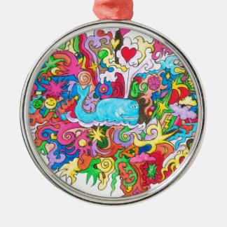 Psychedelischer Wal Rundes Silberfarbenes Ornament