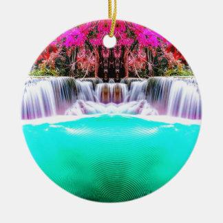 Psychedelischer Wasserfall Rundes Keramik Ornament